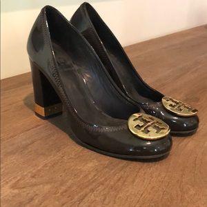 Tory Burch Maddie Patent Brown pump w/ Gold Heels